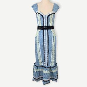 NWT FOXIEDOX Sz XS Stunning Blue Lace Midi Dress